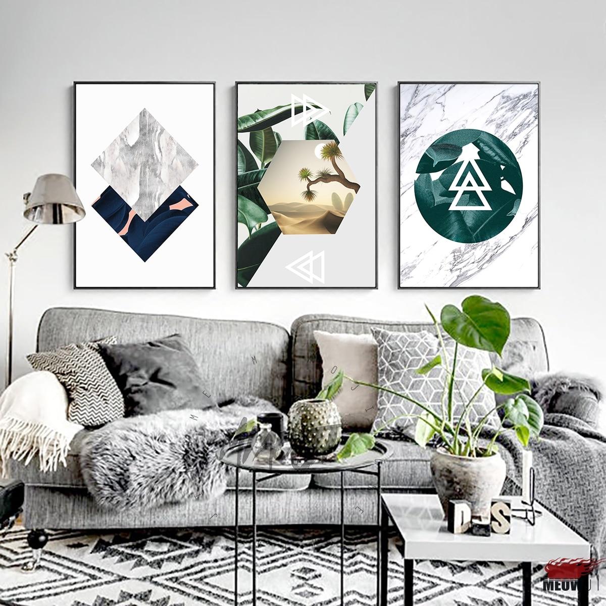 US $4.99  Poster Da Parete di Arte Stampata Su Tela Pittura Per Soggiorno  Nordic Decorazioni In Marmo Grano Piante Verdi Fresche Della Decorazione ...