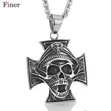 лучшая цена Vampire  Dictator Skeleton Skull Stainless Steel Cross Pendant Necklace Men Punk biker chain Jewelry