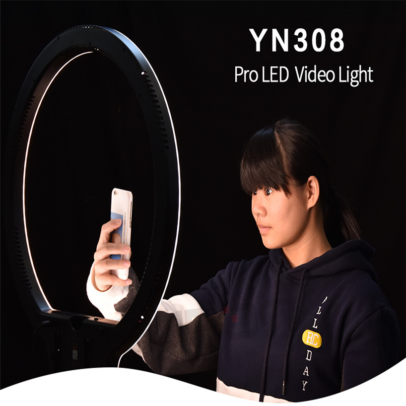YongNuo YN308 Selfie Ring Light 5500K Write Color Bi-Color Temperature Remote Wireless LED Video Light Led Lamp