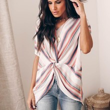 2019 New Color Stripe Twisted Knot Women T-Shirt Summer V-Neck Short Sleeve Irregular Long Tops Striped Casual Loose Tee casual scoop neck striped twisted t shirt for women