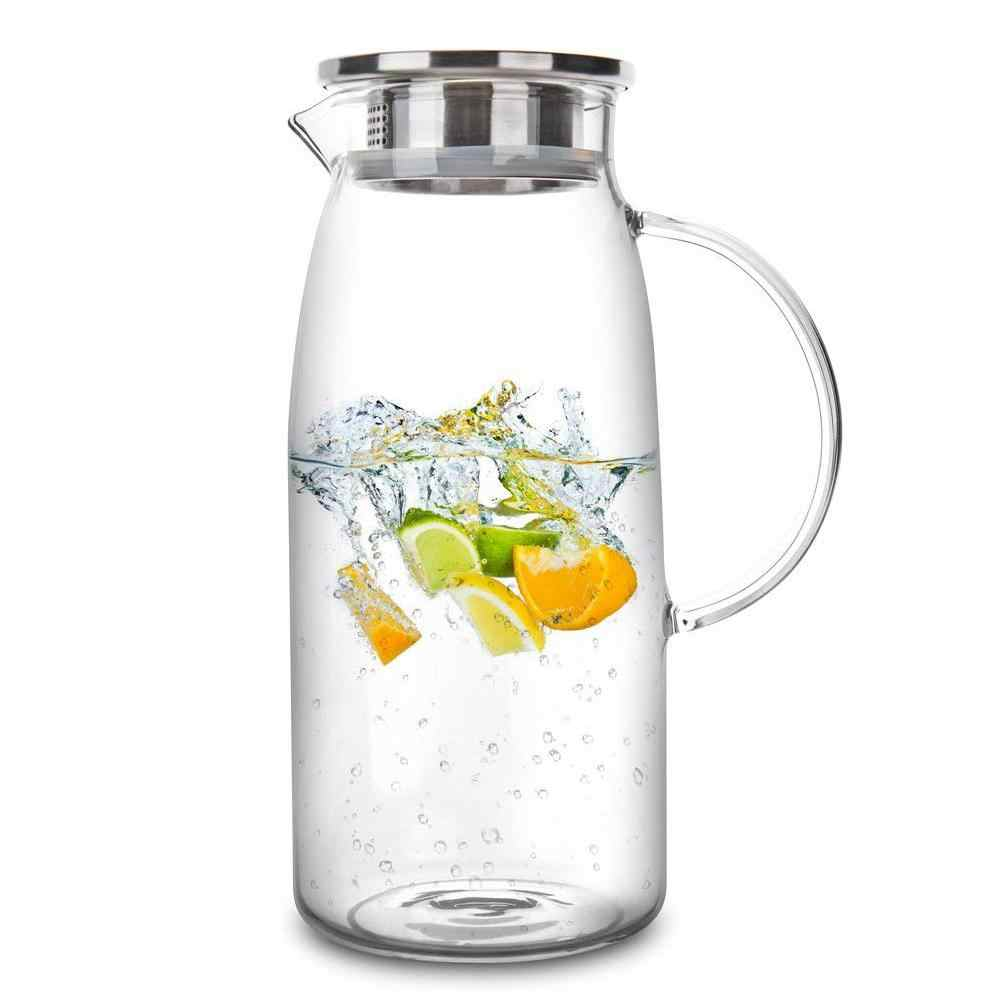 1300/1500/2000ml Creative Transparent Glass Pitcher Hot/Cold Water Jug Kettle Juice Container Bottle Party Kitchen Tools NEW