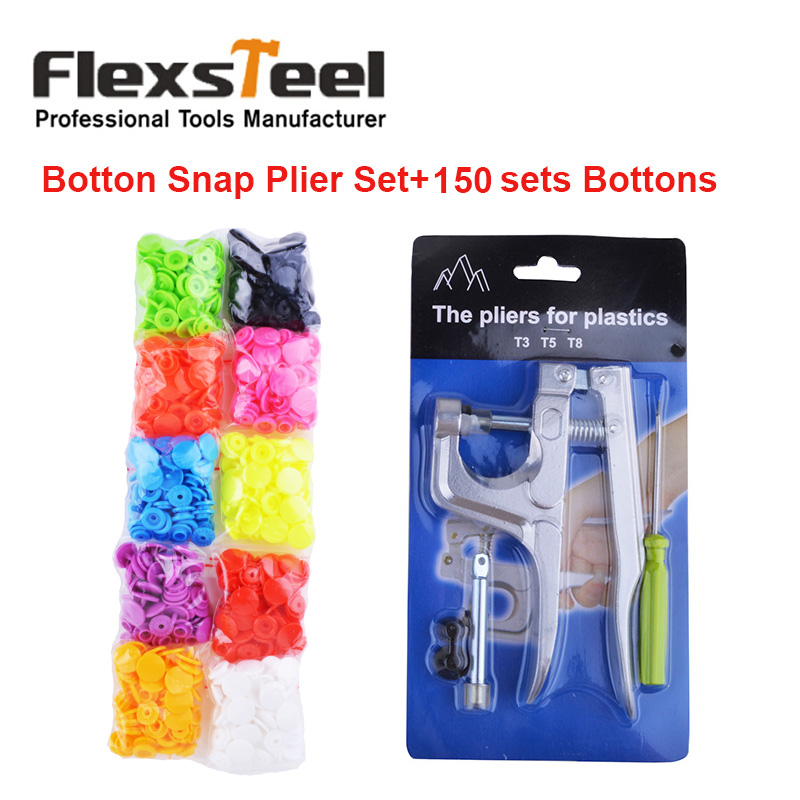 Kam Bottons Snap Press Fastener Plier Set + 150 sets 10 Colors Mixed T5 Plastic Resin Snap Buttons for Cloth Diaper Bibs Unpaper