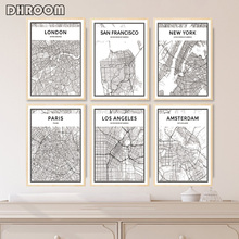World Famous City Map New York London Paris Canvas Poster Prints Wall Art Black and White Painting Pictures for Living Room