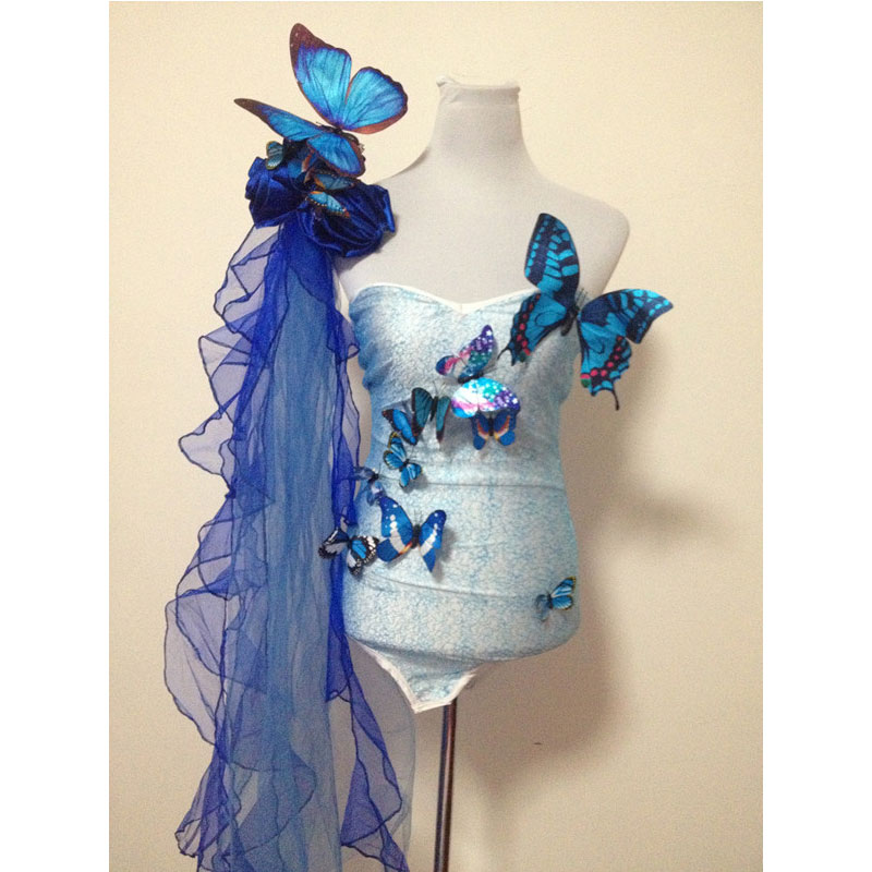 Ballroom Blue Green Butterfly Bikini Gloves Headwear Sets Female Costumes Bodysuit Singer Dancer Party Bar Nightclub Prom Dj Ds