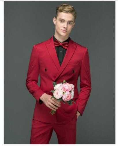 2018 Latest Coat Pant Designs Red Wedding Suits For Men Slim Fit Groom Blazer Prom Style