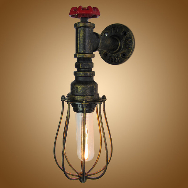 Iron Industry Retro Wall Light 220V Creative Water Pipe Wall Lamp ...