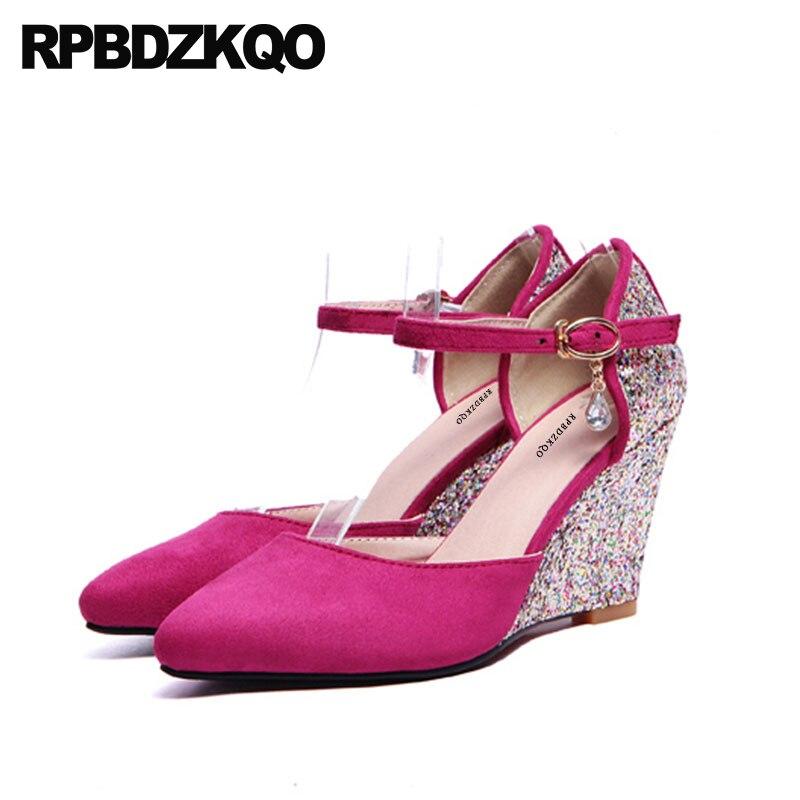 купить Pumps Big Size Glitter 11 43 10 42 3 Inch Purple Wedding Shoes Dress Pointed Toe High Heels Crystal Wedge Women Prom Ankle Strap по цене 2867.13 рублей