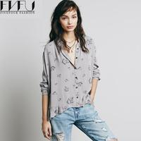 New Fashion Women Blouses 2016 Summer Spring Turn Down Collar Floral Blouse Long Sleeve Shirt Blusas