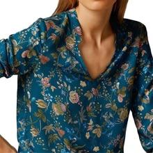 Casual Women Blouses 2017 Fashion Lady Elegant Vintage Loose Long Sleeve V-neck Floral Print Blouse OL Shirts Women Tops Blusas vintage floral print v neck half sleeve blouse for women