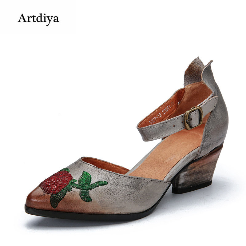 Artdiya Spring and Summer New Pointed Toe Thick Heels Women Shoes Retro Embroidered Buckle Wedges Heels Genuine Leather Shoes