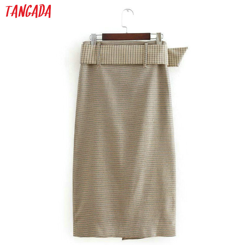 Tangada fashion women plaid skirt vintage work office ladies skirt with belt mujer retro mid calf skirts BE175 16