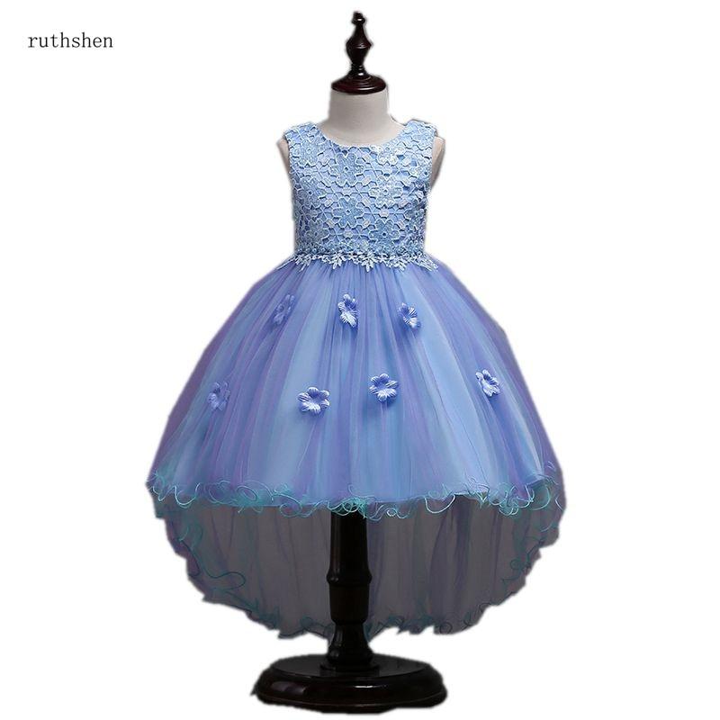 ruthshen Lovely Sky Blue   Flower     Girl     Dress   Lace Pageant   Dresses   Handmade   Flowers   Little   Girls   Floor Length Party   Dress
