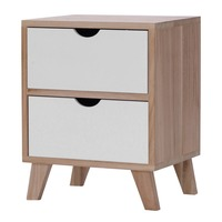 (Ship From UK)2 Drawer Cabinet Wooden Bedside Table With Four Solid Wood Legs Home Furniture Filing Pedestal Durable Nightstand