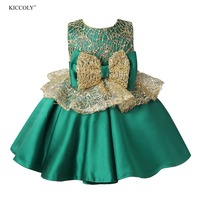 Green Tulle Girl Summer Party Dress Pageant Gown Big Bow Princess Wedding Ball Gown Girls First Communion Flower Girl Dresses