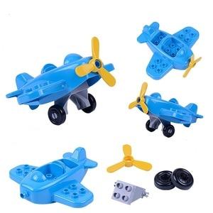 Image 4 - Coche de dibujos animados Compatible con Duploed City, camión agrícola, remolque, avión, modelo de muñeca, bloques de construcción, juguetes educativos para niños, regalos