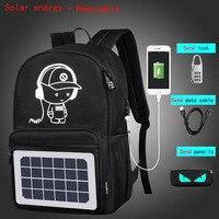 WILIAMGA Solar Energy Men Backpacks Cartoon Anti theft Waterproof USB Charging Designer Backpack Men School Bags For Teenagers