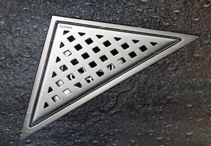 Free shipping Stainless Steel Bathroom Floor Drain Shower Floor Drain Triangle Shape Grate Waste Drain DR089 free shipping bathroom shower floor drain oil rubbed bronze grate waste drain lucky finishes