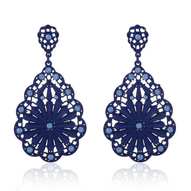 Ethnic Red Long Bohemian Flower Women Drop Earrings Blue Wedding Vintage Silver Crystal For