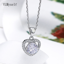 Lover 925 Sterling Silver Pendant Necklace Fine Jewelry Heart design Romantic Suspension Jewellery for Women Best gifts
