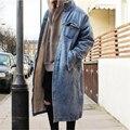Мужчины кашемир пальто мужчины зима теплая x-долго джинсовые куртки мода однобортный шерстяной траншею канье уэст свободные пальто куртки