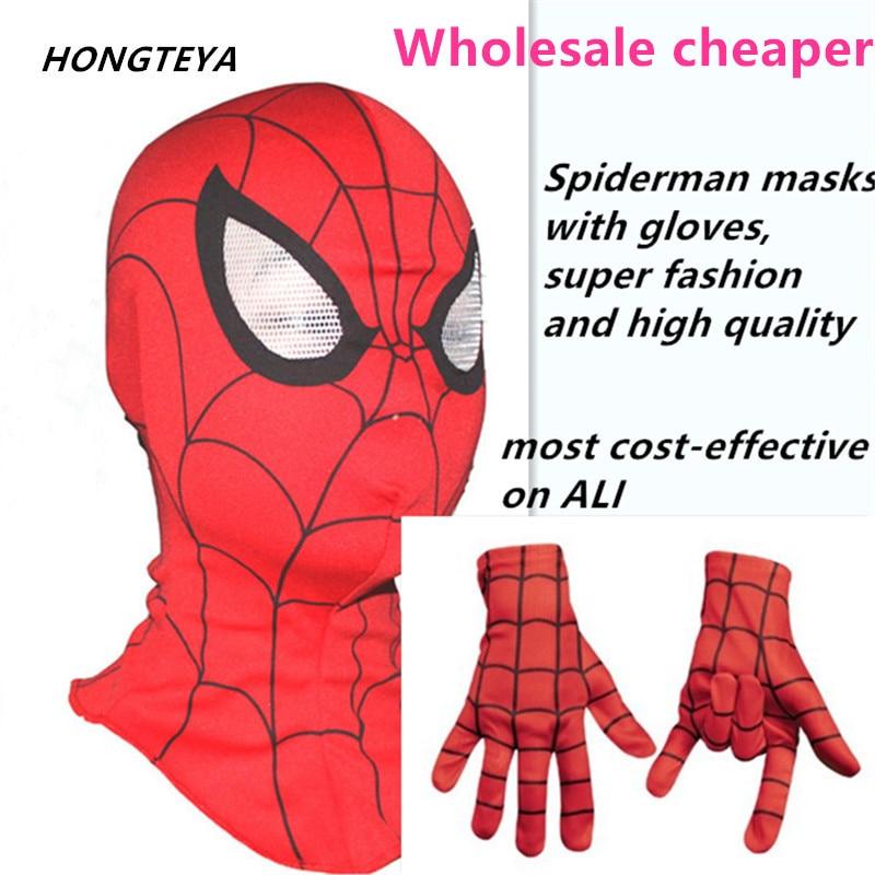 Wholesale 24 pcs Spider Man Mask <font><b>spiderman</b></font> <font><b>Gloves</b></font> masks super cool cosplay halloween party Dark Carnaval Costume kids <font><b>adults</b></font>