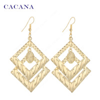 CACANA  Dangle Long Earrings For Women Double Squares Top Quality Bijouterie Hot Sale No.A283 A284