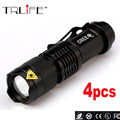 4PCS/lot Mini LED Torch 10W 3800LM CREE Q5 LED Flashlight Adjustable Focus Zoom Flash Light Lamp Free Shipping Wholesale