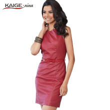 KAIGE NINA Women Fashion PU Leather Dress Slim O-Neck Sleeveless 2 Colors Casual Mini Dress Sashes Sexy Vestidos 2244