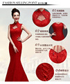 red sexy lace halter-neck Backless long party fish tail bridal tradition wedding embroidered cheongsams qipao rhinestone bride