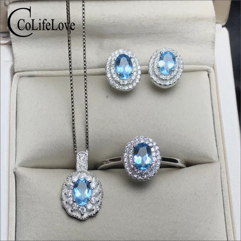Classic silver topaz jewelry set for party natural light blue topaz ring earrings pendant wedding set solid 925 silver jewelryClassic silver topaz jewelry set for party natural light blue topaz ring earrings pendant wedding set solid 925 silver jewelry