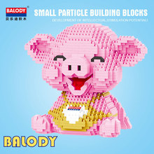 Cute Animal Pink Pig Building Blocks Model Compatible With Small Particle Assembly Educational ToyS GiftS For Children