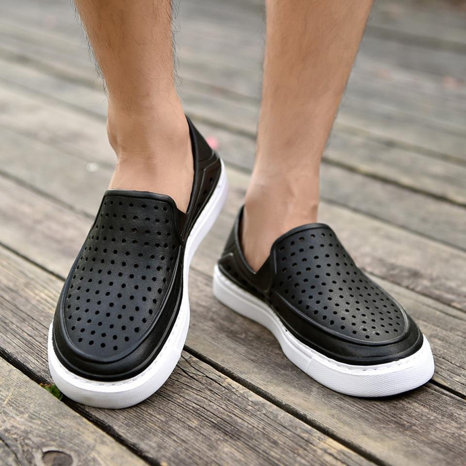 Mens Shoes Flats Beach Sandal Men Native Sea Non-Slip Breathable Hole Shoe Zapatillas Hombre,Black,45