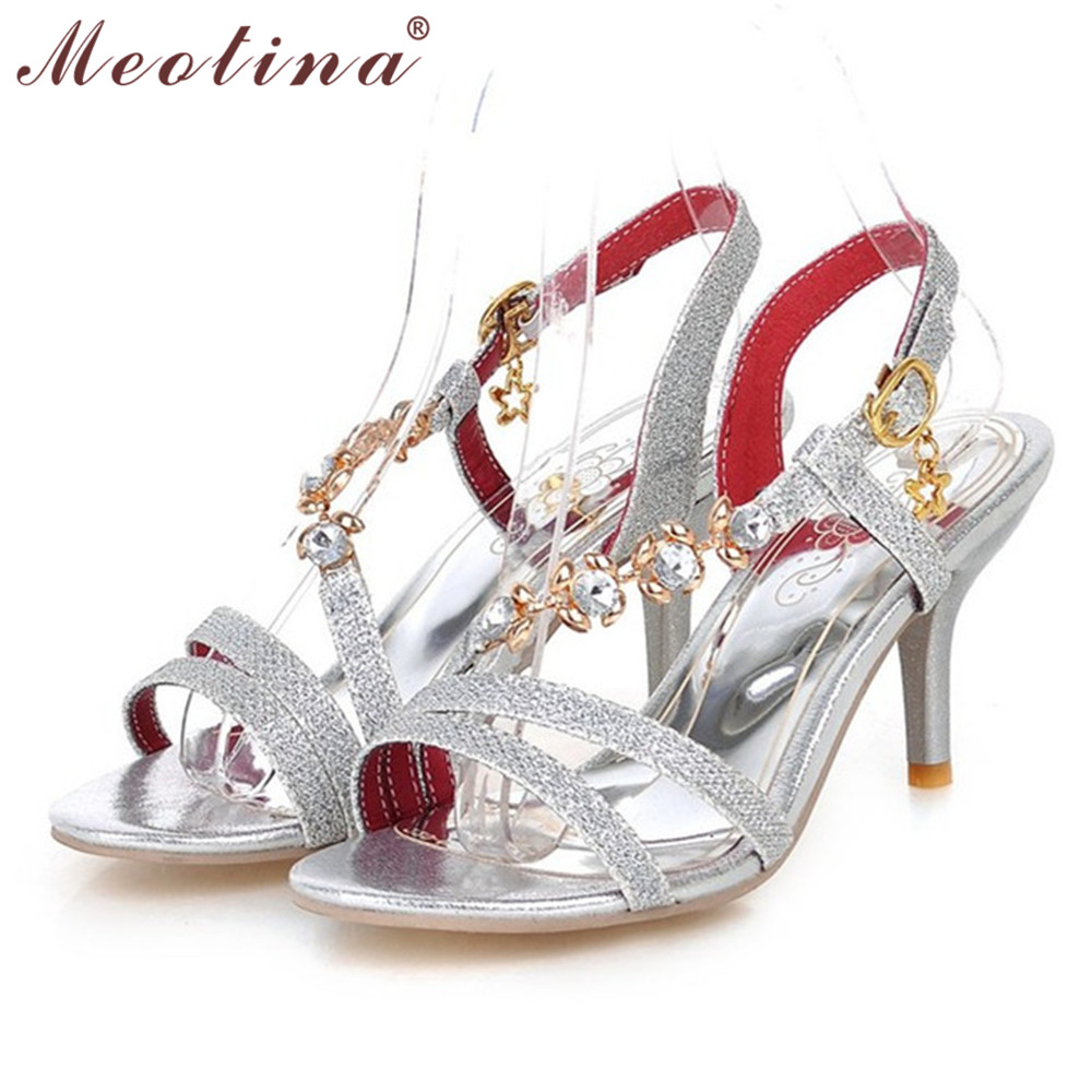 Aliexpress Buy Meotina Shoes Women Sandals Summer High Heels Sandals Party Wedding Silver