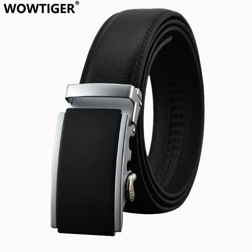 WOWTIGER Belt New Man Designer Automatiskt Buckle Cowhide Läder Mansband 110cm-130cm Lyxbälten för män Ceinture Homme