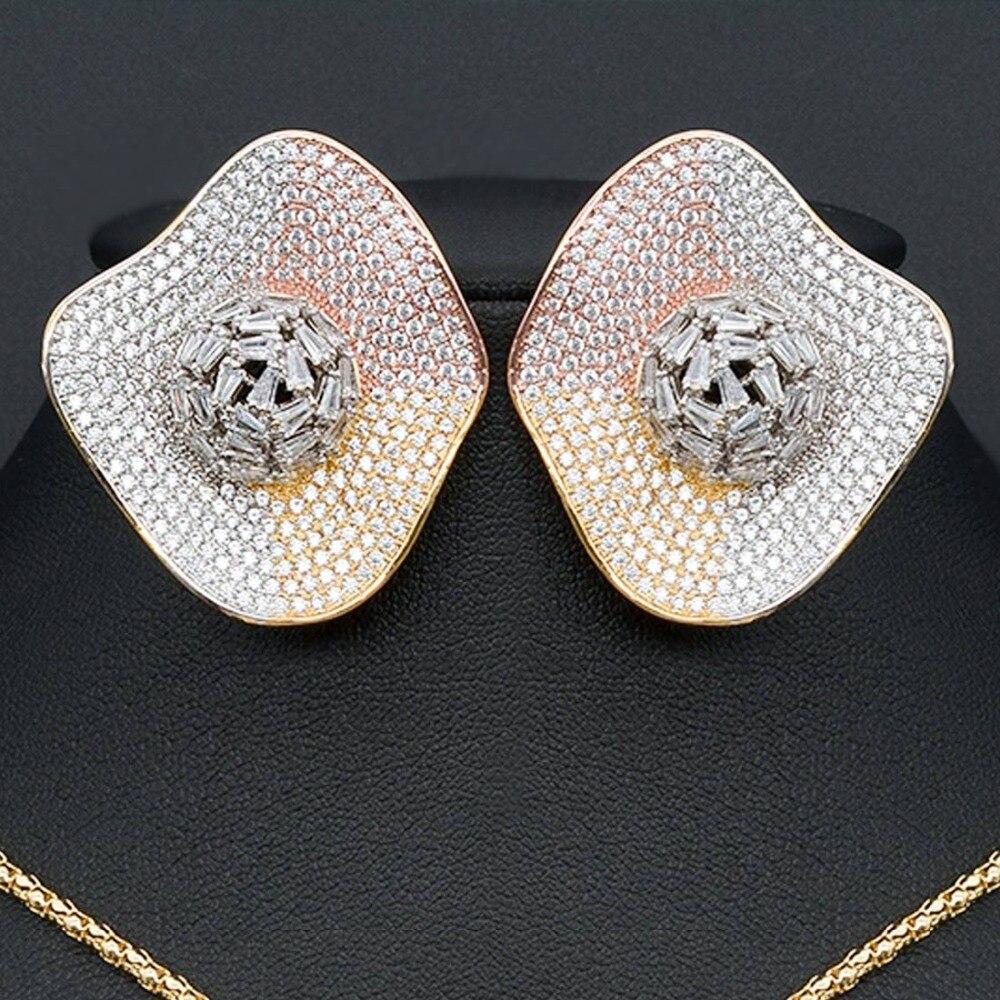 Délicat luxe gemoétrique Super AAA cubique zircone partie mariage DUBAI pendentif collier et boucle d'oreille ensemble de bijoux - 2
