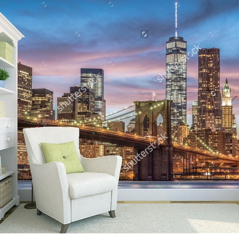 Custom Landscape WallpaperBrooklyn Bridge3D Photo Mural For Living Room Bedroom Restaurant Background