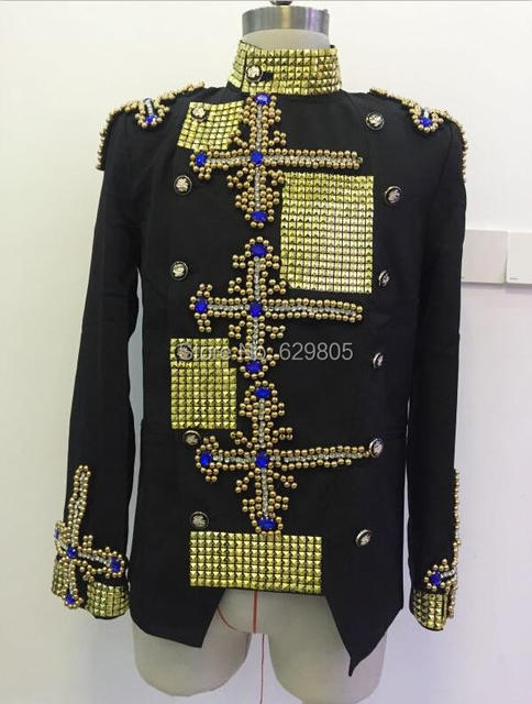 f1b9903a26d46 2016 Plus size Fashion Men Jacket Handmade Rhinestone Beads Design Stage  Wear Blazer Coat Singer Performance Top Dance Outfit-in Chinese Folk Dance  ...