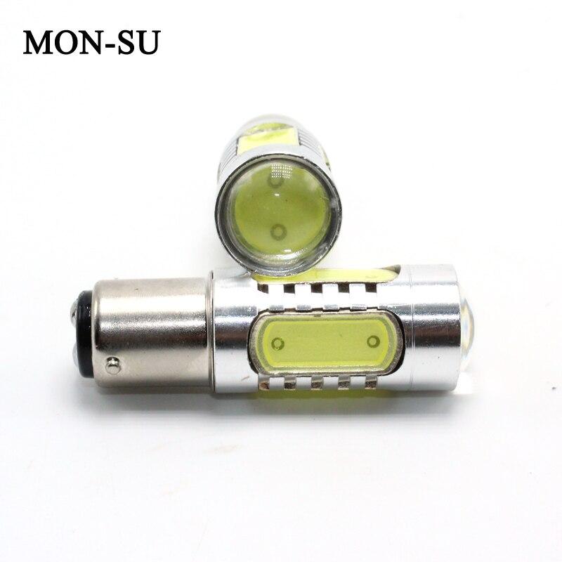 MON-SU 2pcs Car Brake Lights Super Bright White 7.5W LED SMD 1156 Ba15s 1157 Ba15d Backup Reverse Lamp Turn Signal Light 6000K