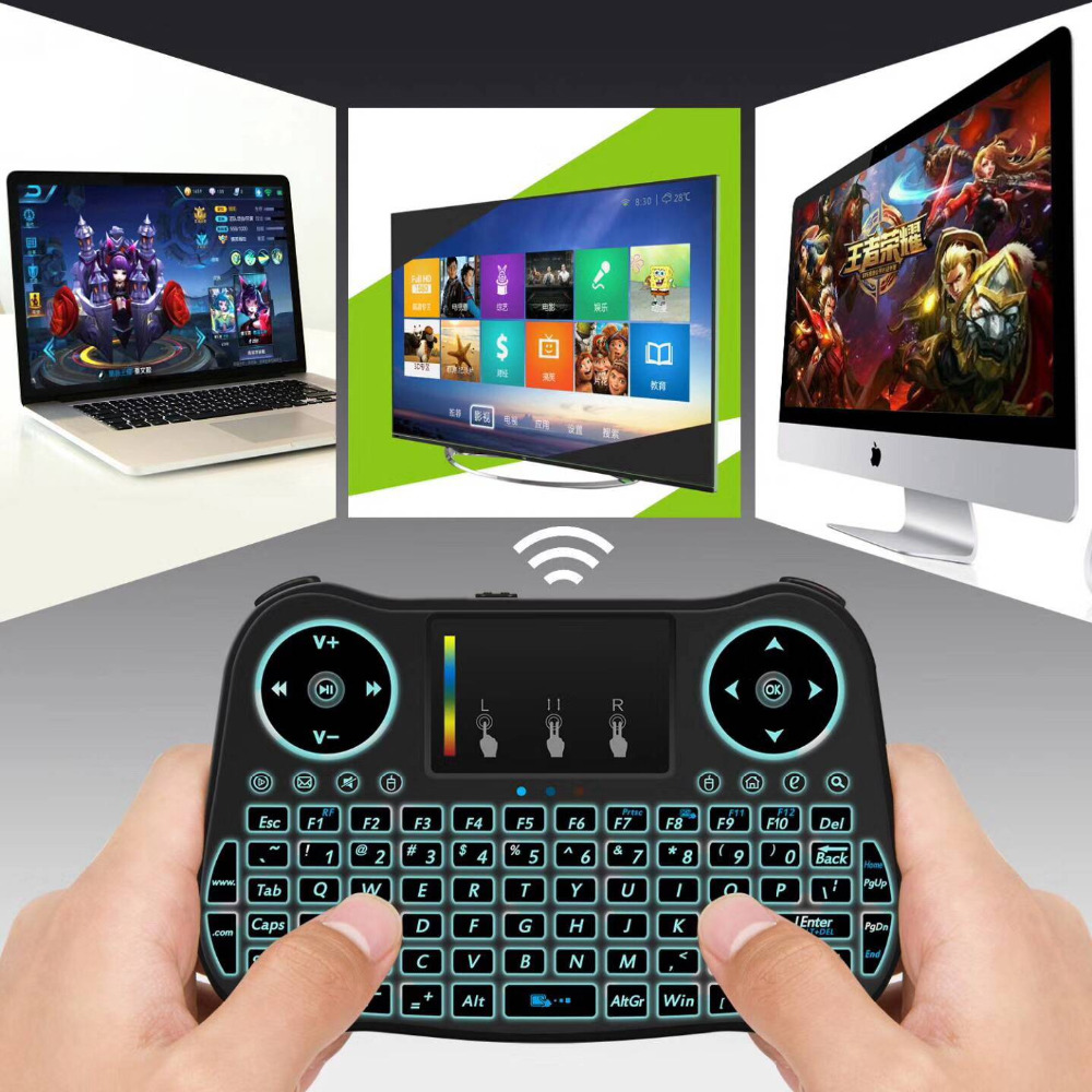MT08 English Russian Spanish Wireless MINI Keyboard 2.4GHz USB Air Mouse with Rainbow backlit Touchpad For Smart TV BOX Computer
