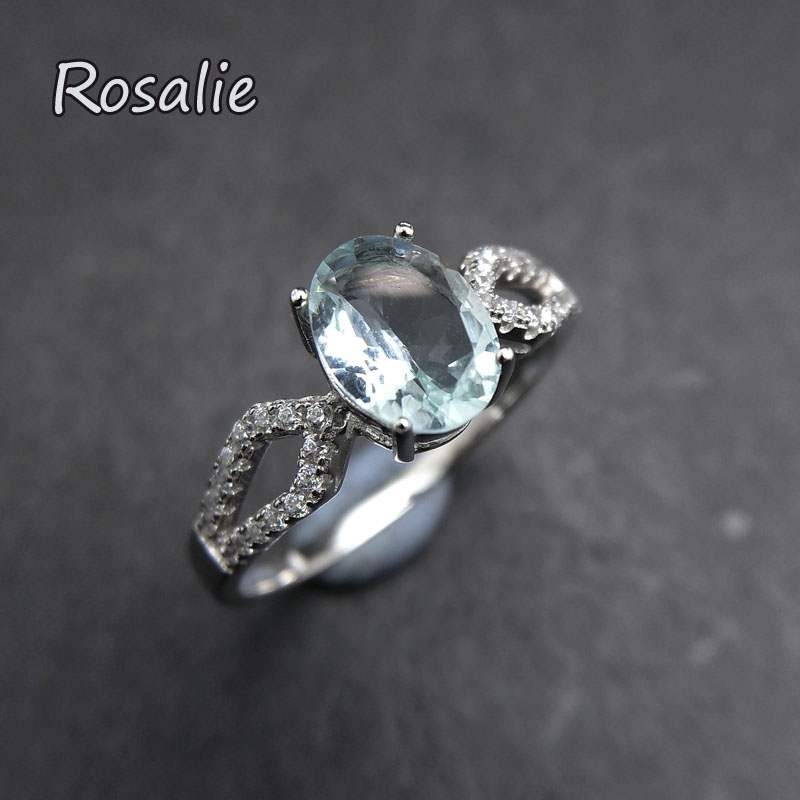 Rosalie,100% natural Brazil Aquamarine oval 6*8mm gemstone Ring in 925 sterling silver for women anniversary party birthday gift rosalie natural loose gemstone brazil real sky blue topaz oval 6 8mm 3 pc 4 5ct in one lot gemstone for silver jewelry mounting
