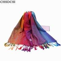 CHSDCSI 여성 패션 무지개 색 폴리 코튼 스카프 술 레이디 겨울 두꺼운 따뜻한 스카프 높은 품질 여성 목도