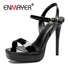 цены ENMAYER Brand Shoes Women Genuine Leather Thin High Heels Top Quality Platform Shoes Woman Sexy Summer Party Sandals Sale CR190