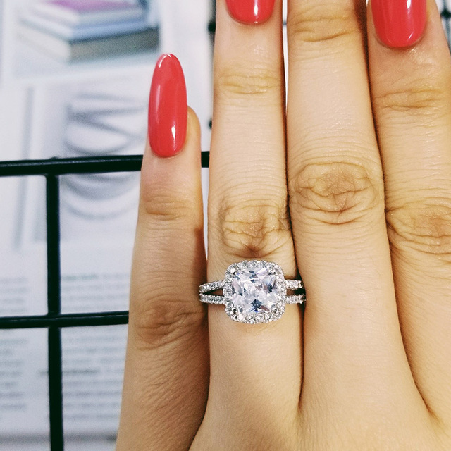 Fashion 925 Sterling Silver engagement wedding promise Ring for Women pink blue fashion finger original design Jewelry  R1507