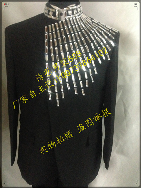 2015 New fashion male personality slim formal dress Mens plus size black Rhinestone suit for singer dancer performance show star