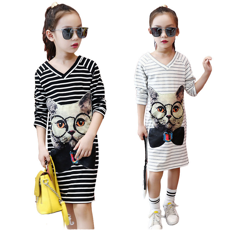 Spring Autumn baby Girls Dress Striped Dresses For Girls Children Princess Dress Teenage cartoon Clothes kids clothes 3-12T