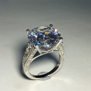 Image 4 - Big Luxus Hochzeit Ring Runde Cut Sona Echtem 925 Solide Sterling Silverfor Frauen Engagement кольца женское plata de ley 925