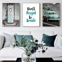 Travel Canvas Wall Art Landscape Painting Nordic Car Poster Blue Sea Simle Living Room Unframed