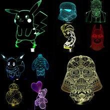 NUEVO Pokemon Star Wars Princesa Lisa 3D Lámpara de La Noche del LED Cráneo Colorido Del USB luz de Acrílico Niño Bebé Regalos de Navidad Deco presente