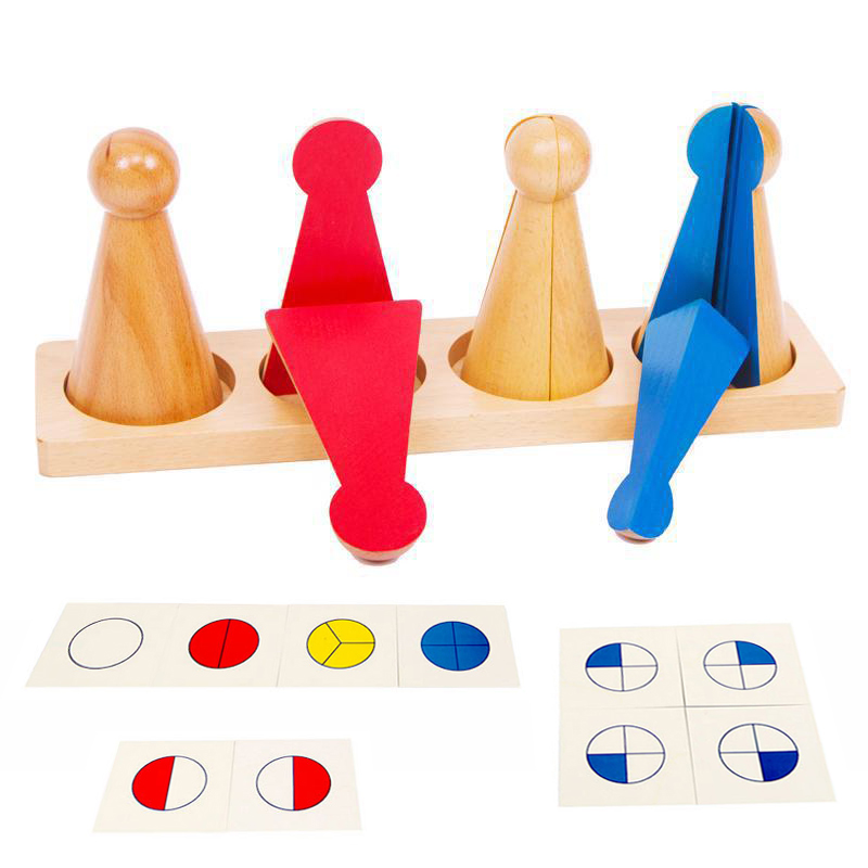 Montessori Math Baby Toys Wooden Math Material Fraction Puzzle Preschool Learning Educational Toys Juguetes Brinquedos YG2764H