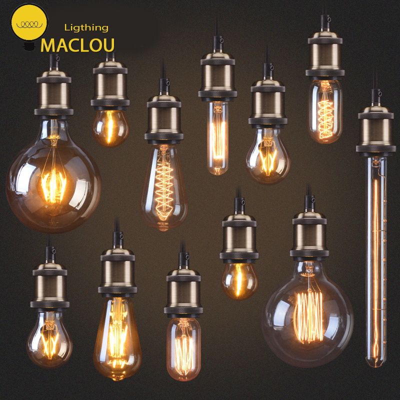 MACLOU Edison Bulb e27 Retro Lamp ST64 G80 G95 Vintage Incandescent Bulb 220v Holiday Lights 40w Filament Lamp Lampada HomeDecor vintage edison bulb g80 g95 st64 e27 220v 40w retro lamp vintage light bulb edison lamp incandescent light decor filament